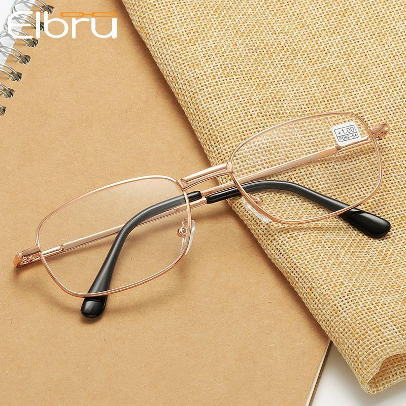 Sonnenbrille Elbru Oval Metall Lesebrille Klare Linsen Männer Frauen Presbyopisches optisches Brillenbrillen Eyewear-Rezept +1.0 bis 3,5