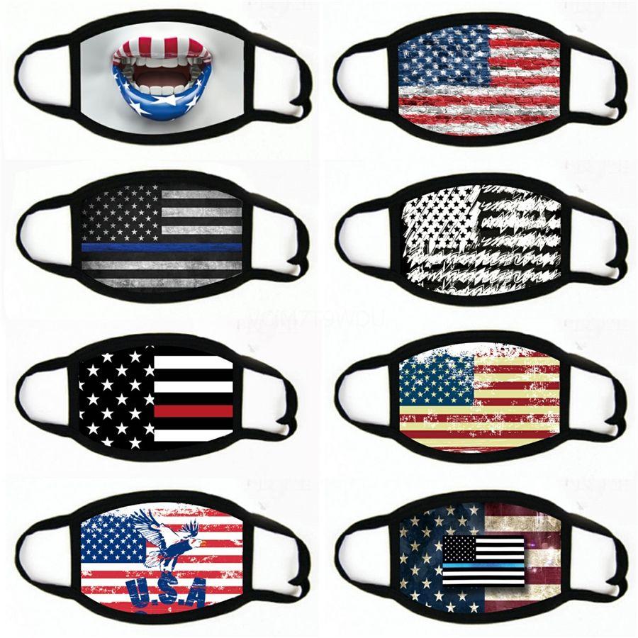 Americana impresión de la bandera de la mascarilla del adulto lavable a prueba de polvo Boca cubierta deportes al aire libre del montar a caballo contra la niebla máscara # 281
