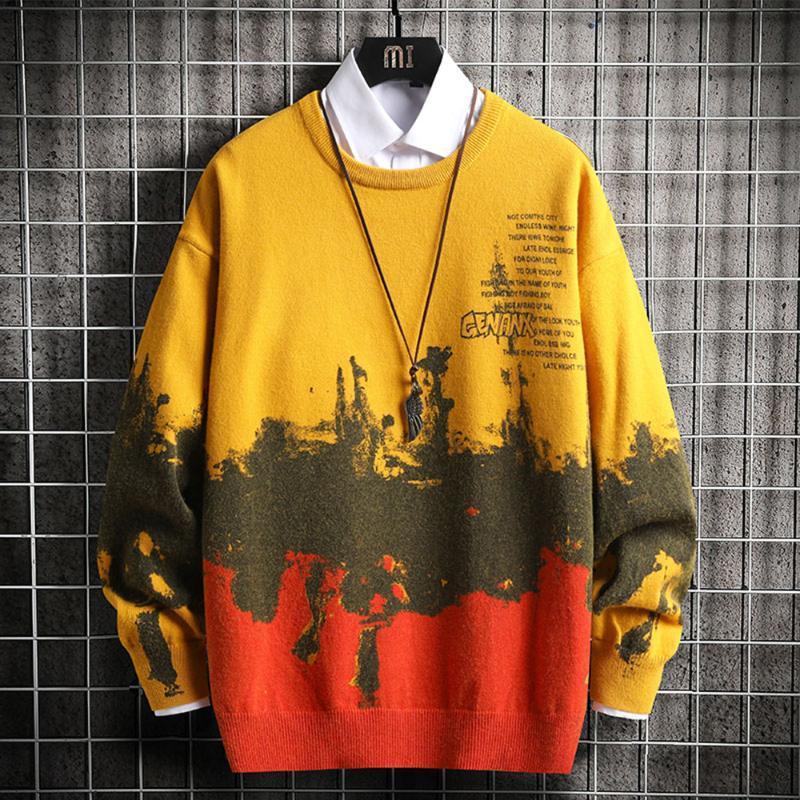 Moda otoño suéteres Calle Invierno Hombre jerséis de punto suéteres de los hombres Ropa O-Cuello de camisa de manga larga Tops Casual
