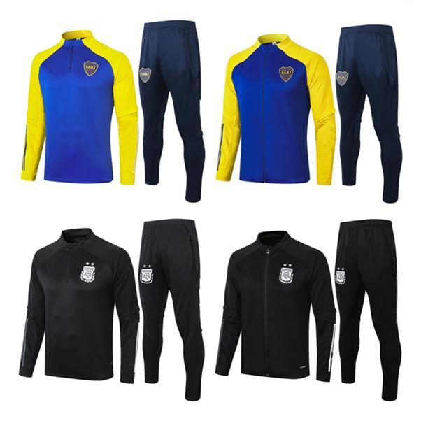 2021 Argentina Boca Juniors di alta qualità di calcio di formazione 2021 a maniche lunghe tuta allenamento di calcio giacca qualità Boca Thai uomo sportivo