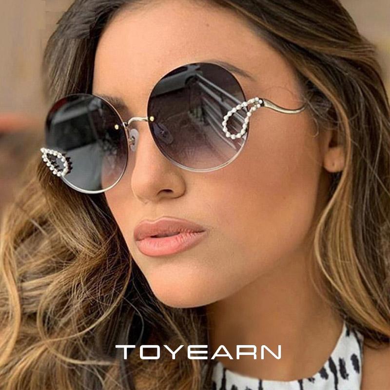 Übergroße Runde UV400 Vintage Sonnenbrille Mode Neue Frauen Elegante Sun Designer Diamant Dame Brille Metal WMobd