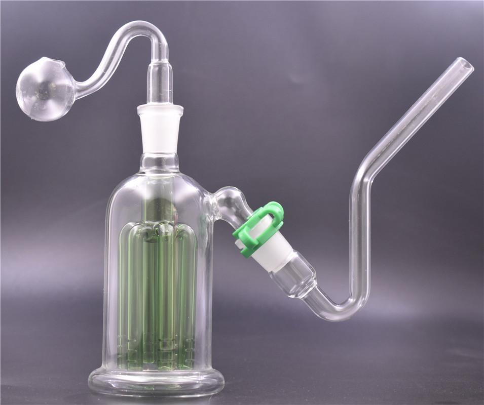 1set 5.5 inch glass bong 8 arms percolator bubbler filter Ash Catcher bong water bongs with j-hook adapter and glass oil burner pipe