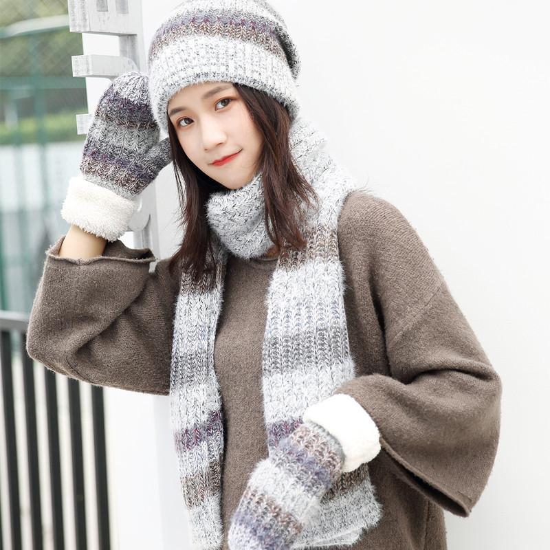 Шляпы, шарфы перчатки наборы женщин шерстяные осень и зима мода вязаная полоса из трех частей костюм дикий теплый капюшон шерстяная шапка шарф перчатки
