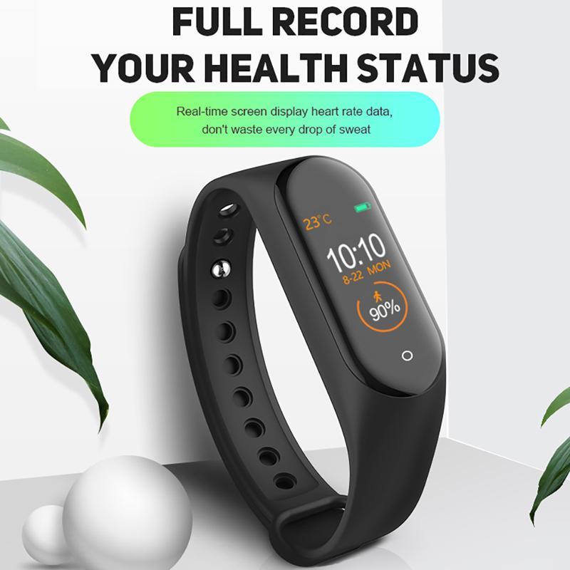 M4 Smart Bracelet Impermeabile Smart Band Bluetooth Watch Step Calorie Controllare il braccialetto sportivo della frequenza cardiaca del tracker del fitness con cavo di ricarica
