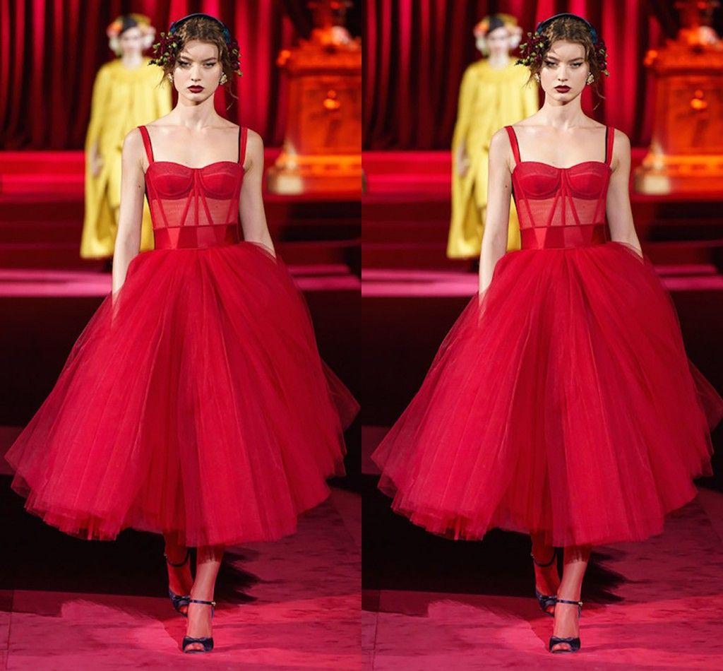 Sencillo una línea de té longitud vestido de noche rojo de organza y tul de la vendimia del vestido de noche vestido formal Elegantes Vestido de Festa