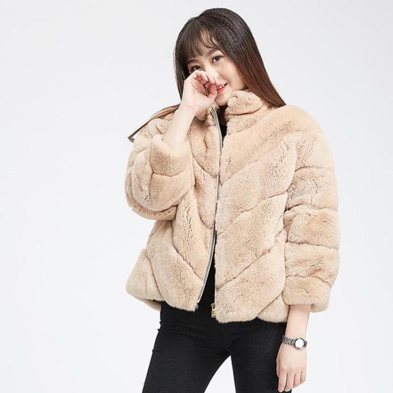 4XL più Fuax dimensioni cappotti di pelliccia femminili spessi cappotti caldi cuciture pelliccia collare del basamento caldo giacche colorate F106