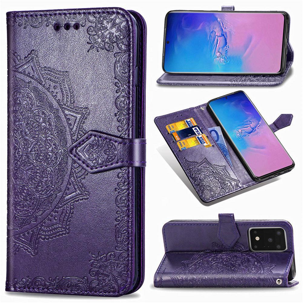 Il raccoglitore per Cuoio Samsung Galaxy S11Plus S11 + PU copertura antipolvere Datura Fiori di slot per schede Hand Strap (Modello: S11Plus / S11 +)