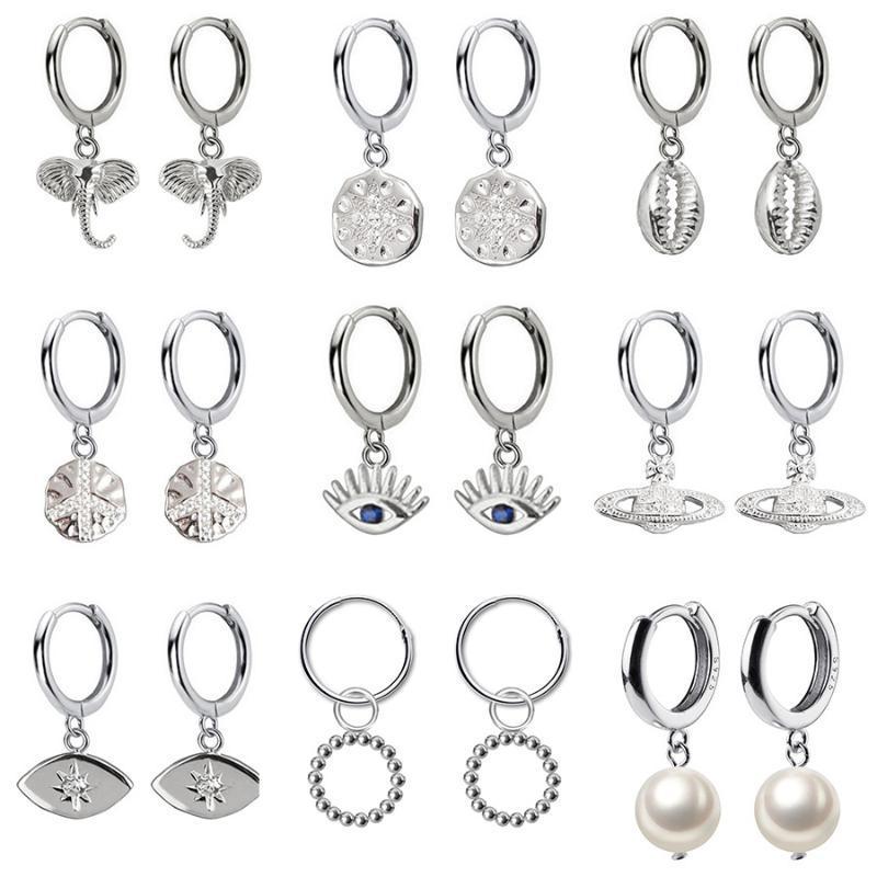 Stud 2021 Top Small 925 Sterling Silver Hanging Earrings For Women Elephant Eye Dazzling CZ Charm Studs Earring DA537