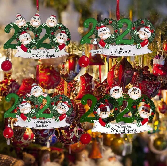 DHL NEW Quarantine Christmas Birthdays Party Decoration Gift Product Personalized Family Of 4 Ornament Pandemic Social Distancing FY4278