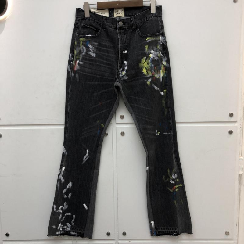 Руководство Всплеск чернила Галерея Dept Строчка Bootcut Denim штаны Damage отверстие Проблемные Галерея Dept джинсы Мужчины