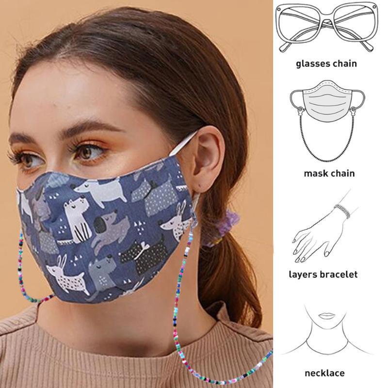 LUREEN Moda Mascarilla de retención Cadena Cadenas Cuentas de metal larga Gafas de sol cuerda de la correa Gafas de deslizamiento para no Collar de cordón