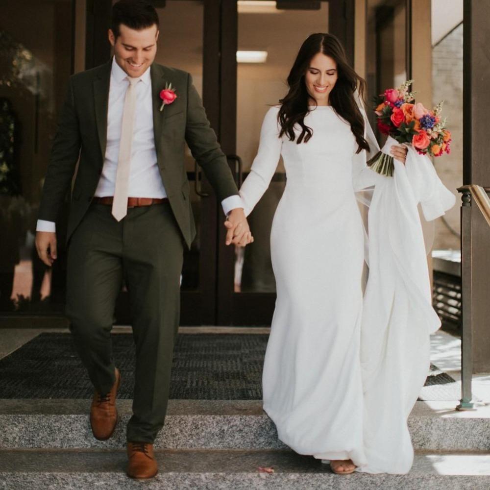2020 Elegante Satin Meerjungfrau Brautkleider Langarm Herbst Frühlingsland Garten Brautkleider Einfaches Zug Muslim Hochzeitskleid