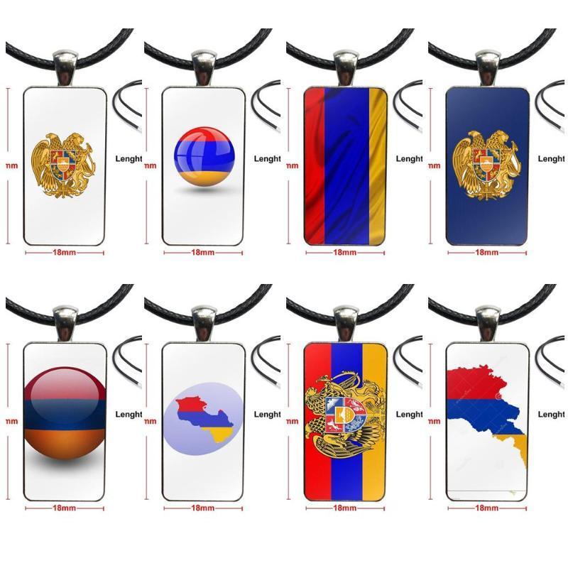 Cabochon en verre Bijoux Acier inoxydable avec Pendentif long collier ras du cou Rectangle pour unisexe cadeau Drapeau Arménie