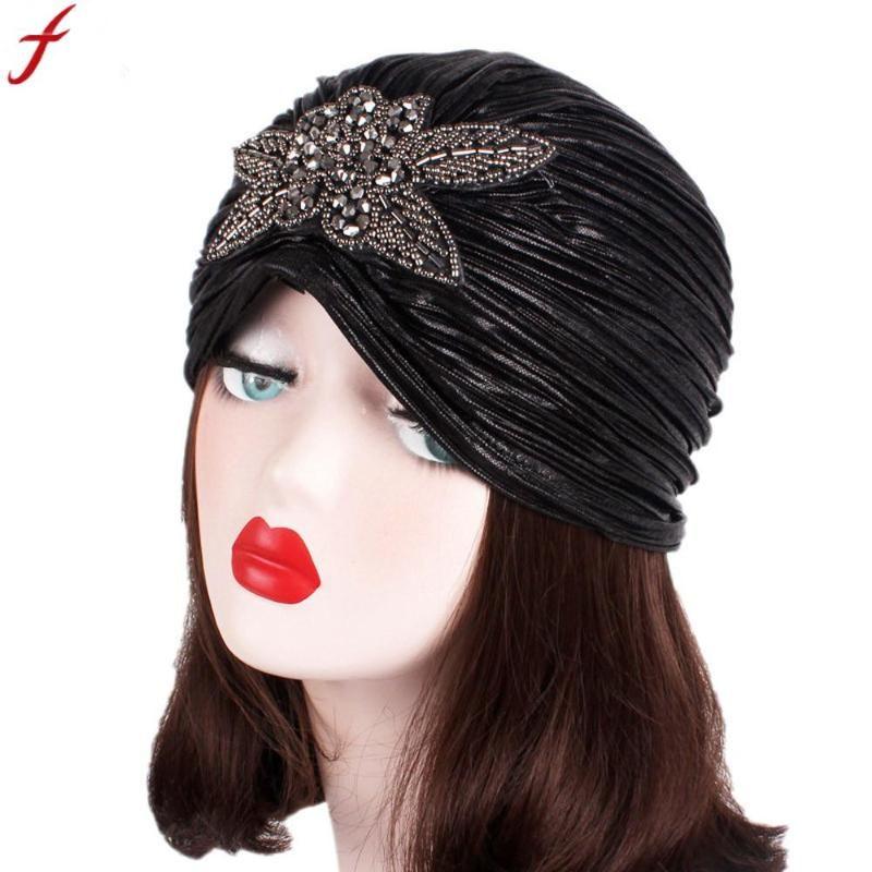 2020 India Turbante Berretti per le donne signore della molla retro grande cappello Flowers Turbante Brim Hat Cap Pile Cap Skullies Berretti Goccia