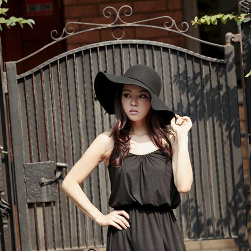 Venta caliente del otoño del verano de fieltro de ala del sombrero de Sun de las mujeres de la vendimia Wide Brim Caps Sunbonnet sombreros de ala señora Beach Sombrero de sol de protección UV