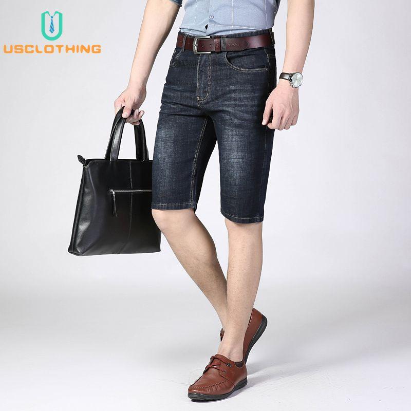 Estiramento curto Jeans Moda Casual New Verão Shorts Jeans Masculinas alta qualidade Elastic Negócios Denim Shorts Masculino Marca NB45A