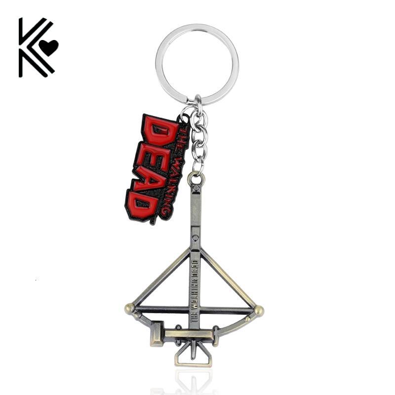 Walking catena Morto portachiavi Daryl Dixon Balestra Black Metal portachiavi Jewelry Key Ring per Souvenirs