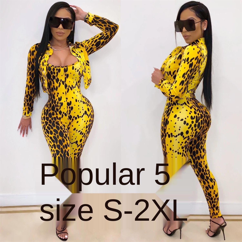 Leopard-print Jumpsuit Suit de New Mulheres Esporte Romper manga comprida Partido Ruched Aptidão sem mangas do desgaste da dança 209