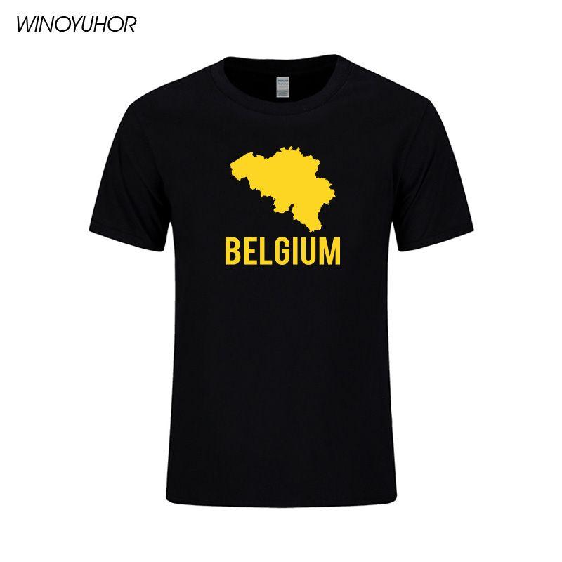 Bélgica Mapa camiseta impresa de la moda hombres algodón de manga corta de verano Tops Hip Hop O-cuello de la camiseta de Calle Homme