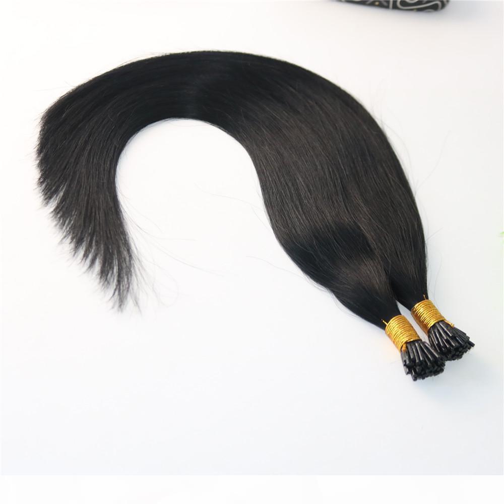 100Strands 100g seti Ön bağlanmış Brezilyalı Remy İnsan Saç Uzatma Doğal Siyah I Çubuk ucu Saç Uzatma