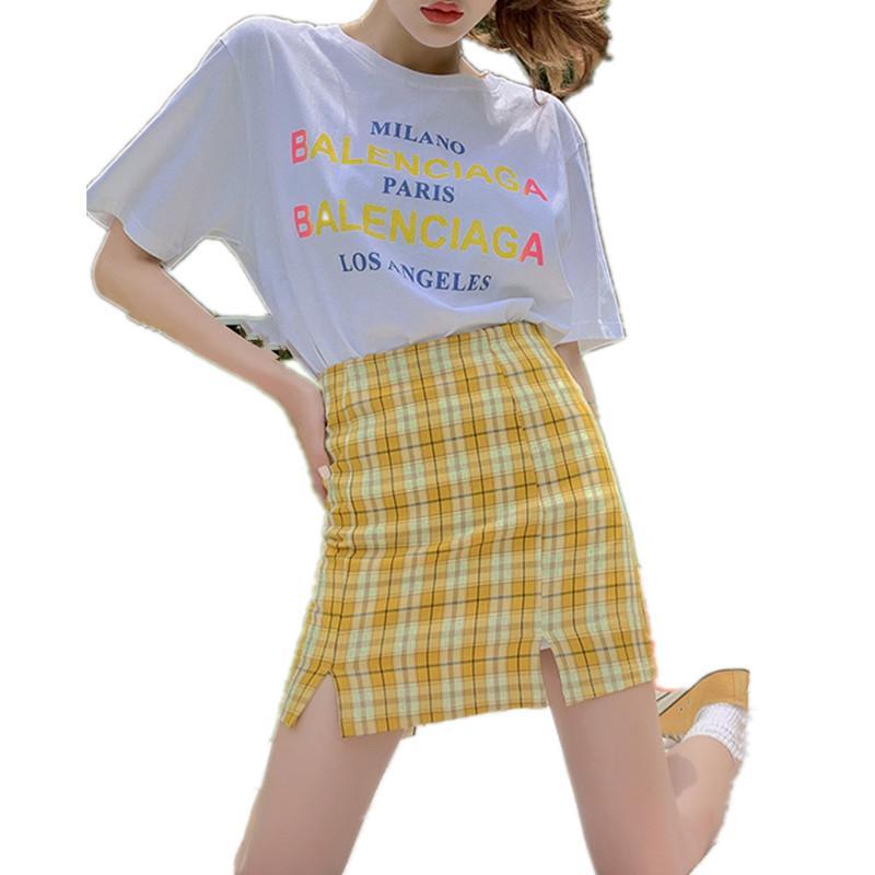 패션 체크 인쇄 엉덩이 스커트 여성 한국어 높은 허리 플러스 사이즈 세부 격자 무늬 여자 스커트 여자 분할 미니 스커트 반바지 블랙