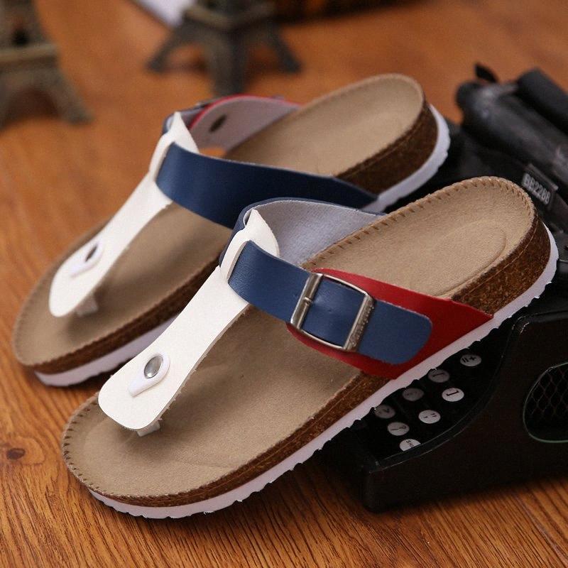 Casual Flipflop'u Mantar Gladyatör Sandalet Kadınlar Düz Terlik Aşıklar Hediyelik On Karışık Renkler Toka Mantar Sandalias Femme Kayma ayakkabı 9LPE # Ayakkabı
