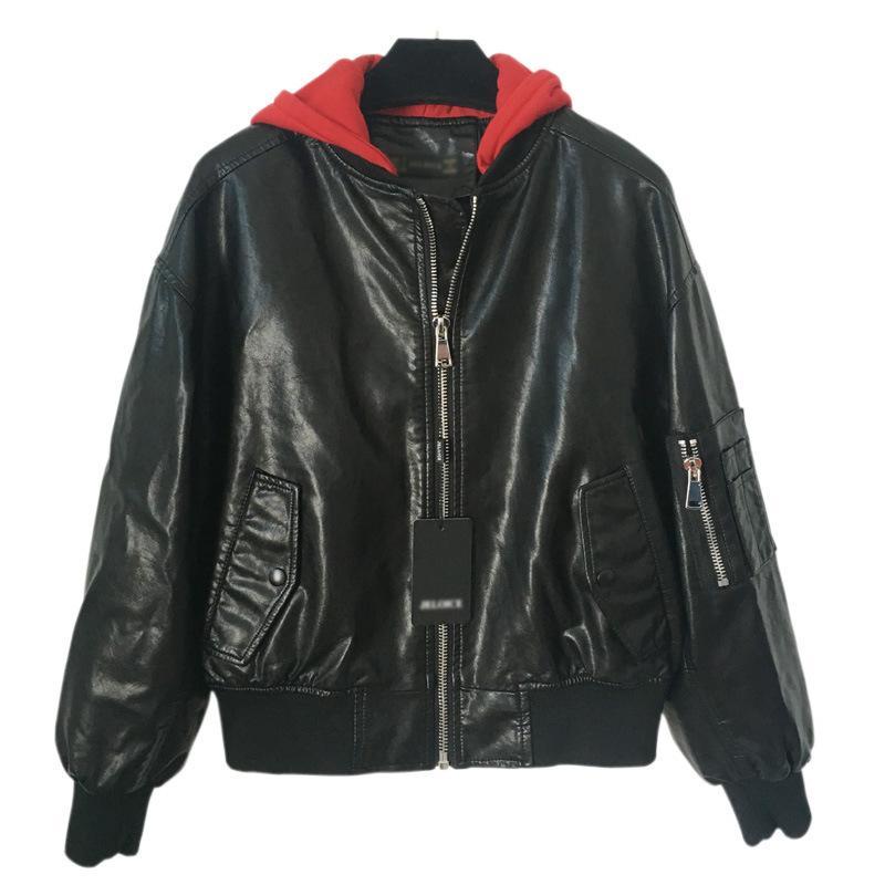 encapuzados jaqueta de couro de mulheres Top Quality Design Mulheres Original couro Blazer nova Punk DJ jaqueta curta Motorcycle Jacket