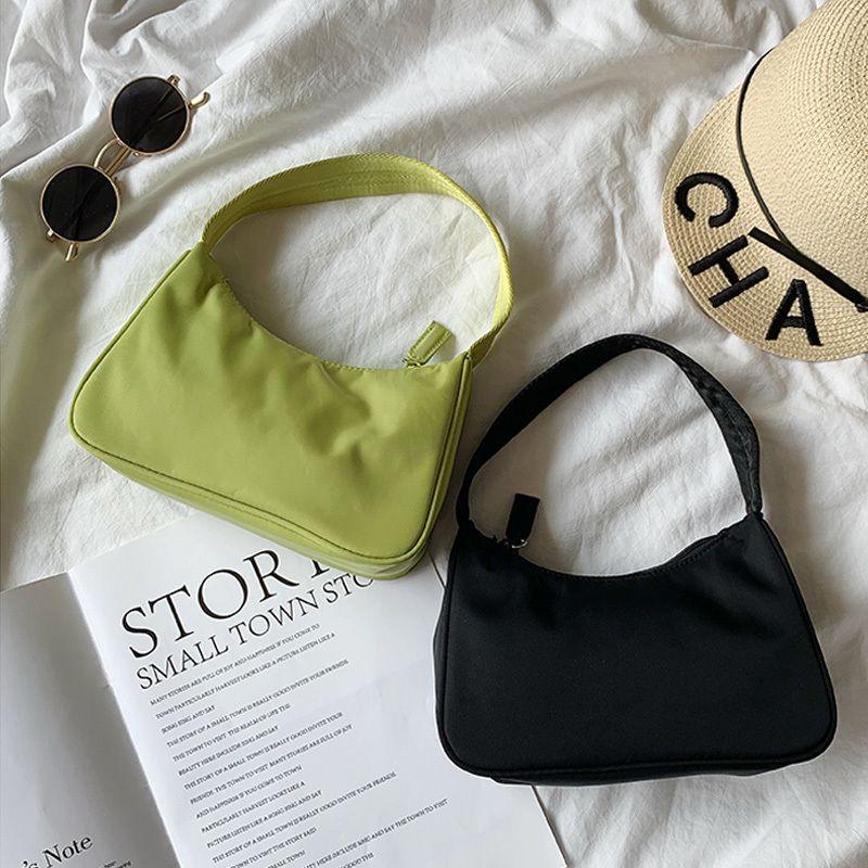 Barato de moda Moda Vintage Casual Diseñador Baguette mini bolso de hombro del bolso de nylon para las mujeres Mujer Marca embrague pequeños