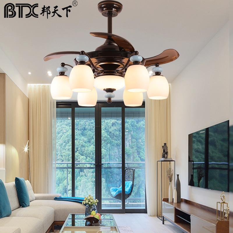 Electric Fans American Fan Lamp Family Expenses Atmospheric Sitting Room Modern Dining Droplight Bedroom Invisible Ceiling