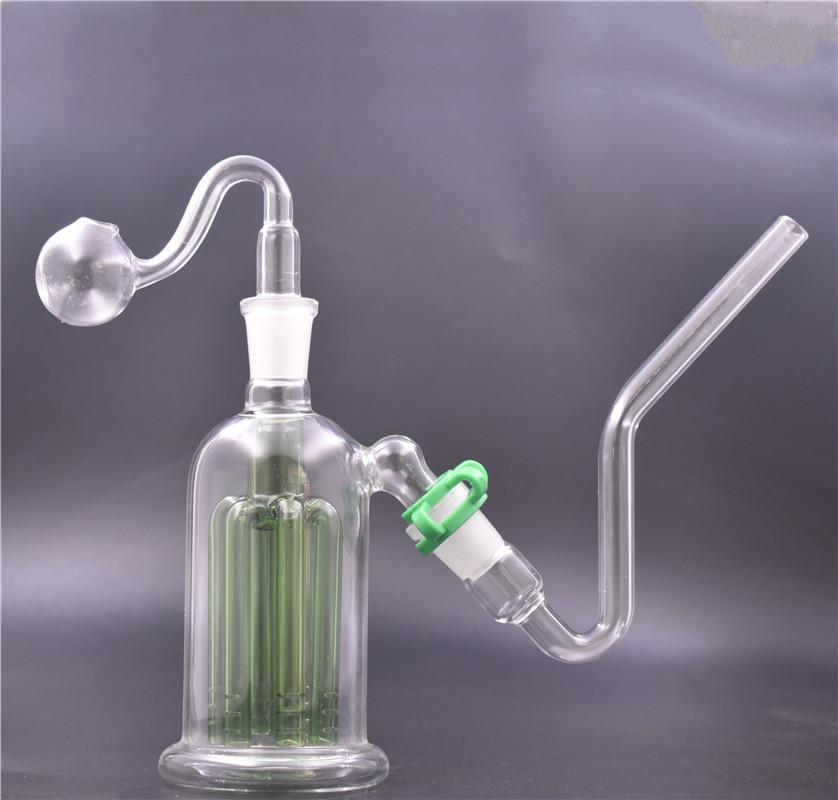 5.5inch bicchiere di vetro Bong 8 Arms Albero Perc Dab Rig vetro tubo di acqua 14 millimetri 18 millimetri ashcatcher bong con il tubo di bruciatore a olio di vetro