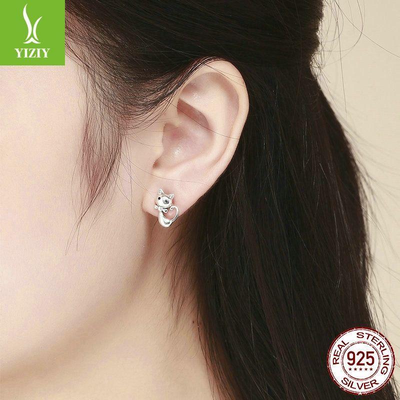 3LR94 coreano estilo simples e 925 brincos de prata esterlina feminino cat pegajosa anti-alérgicos brincos SCE450