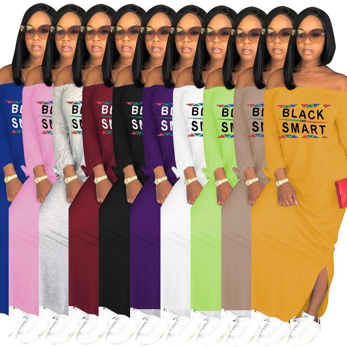 Tasarımcı Kadınlar Uzun Maxi Elbiseler Siyah Akıllı Harf Uzun Elbise Boyun Shoulderless Parti Seksi Bölünmüş Etek Elbise Slash yazdır