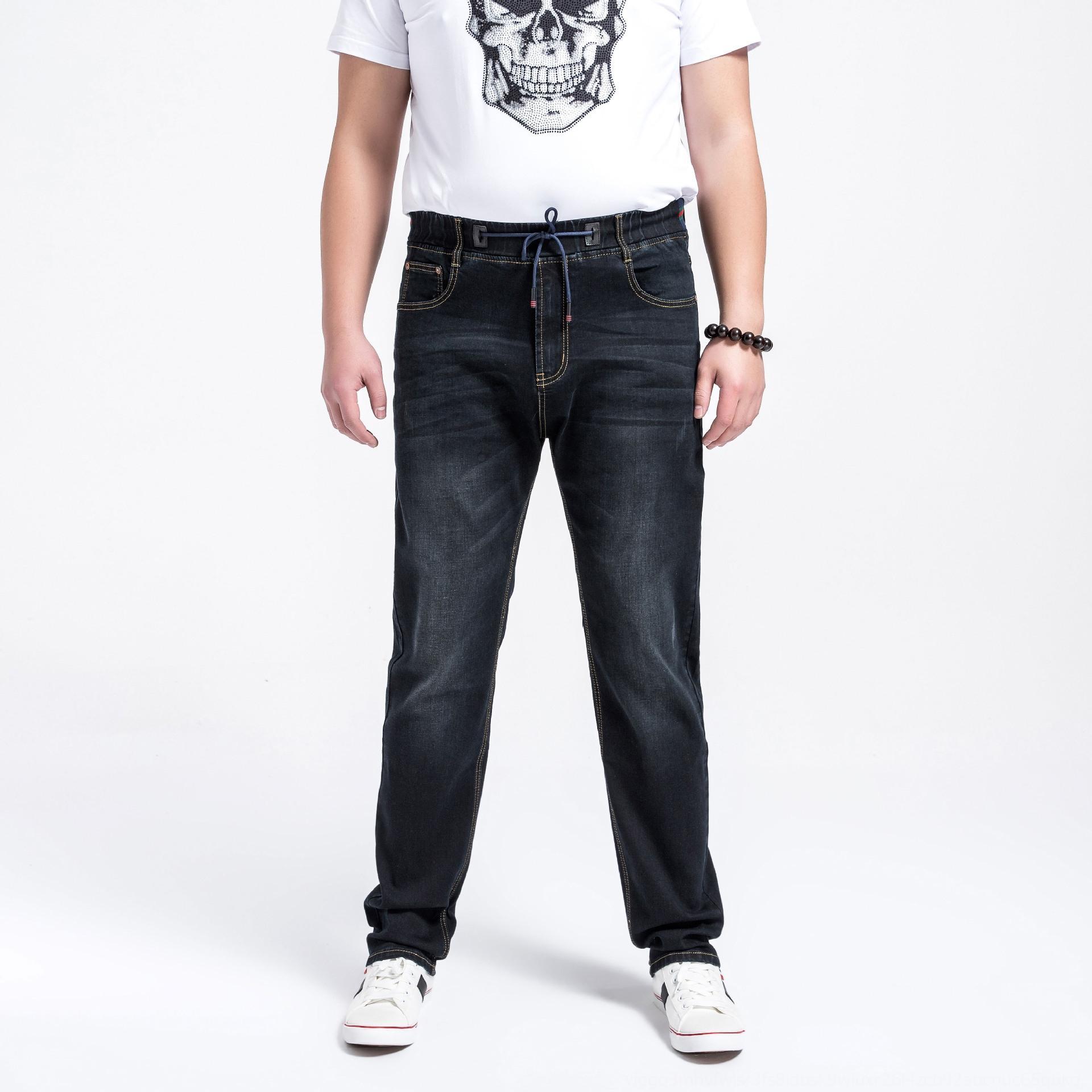 calças de ganga para um2WK jeanstrousers homens magros e Verão e jeanspants elásticas calças cintura moda grande elasticidade tamanho alta X jeans casual ônibus XJoz0