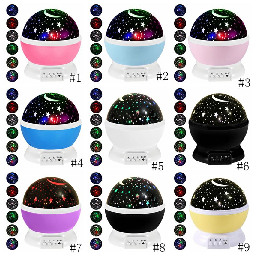 Night Light Projector Lamp Stars Starry Sky LED Projector Children Kids Baby Sleep Romantic Led Projection Lamp Party Decoration GGA3710-1