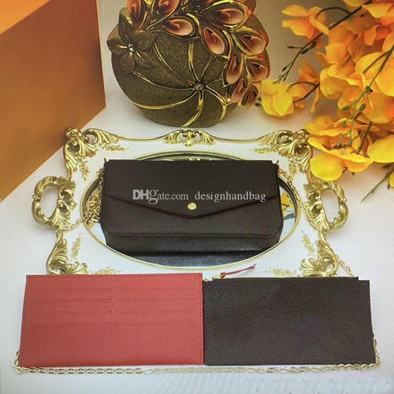 Sac à main Pochette Pochette Pochette Pochette Bandes Sacs Sacs Épaule Real Femmes Set 3 Porte-cartes Portefeuilles Mobile Crossbody Morceaux Felicie M61276 Bnkihih