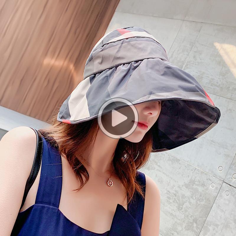 New style plaid fisherman hat Tide female Summer fresh Korean version of joker sunscreen hat Fashional folding sun hat