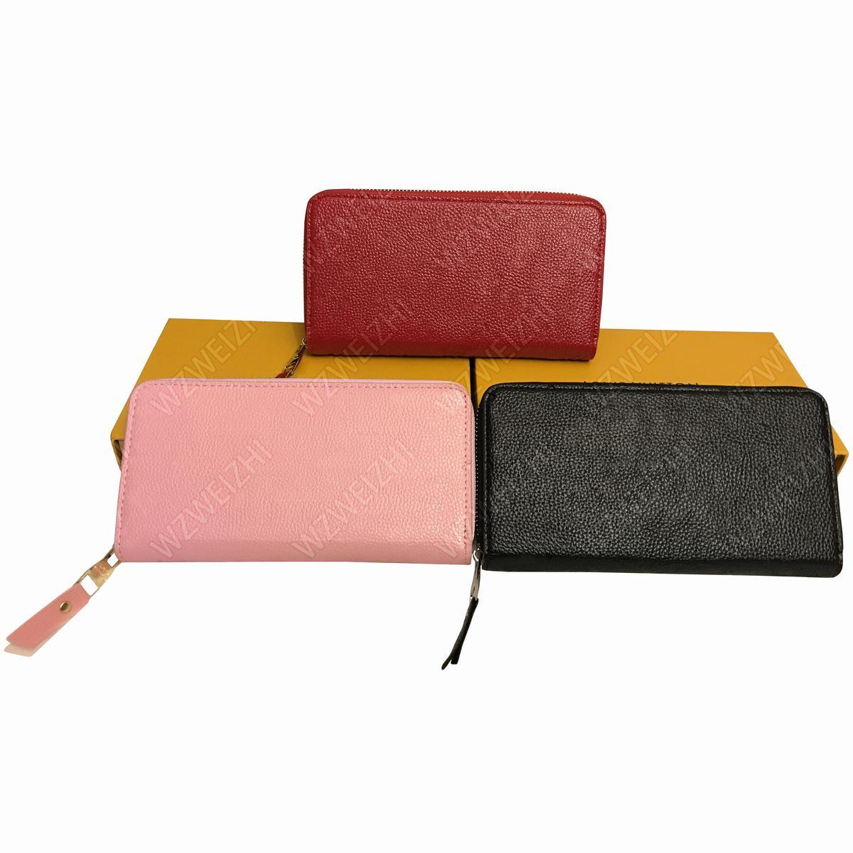 cuir embossé d'embrayage sacs à main Sacs longue fermeture éclair Porte-cartes Porte-femmes de mode sacs de messager Porte-monnaie Porte-passeport M60171