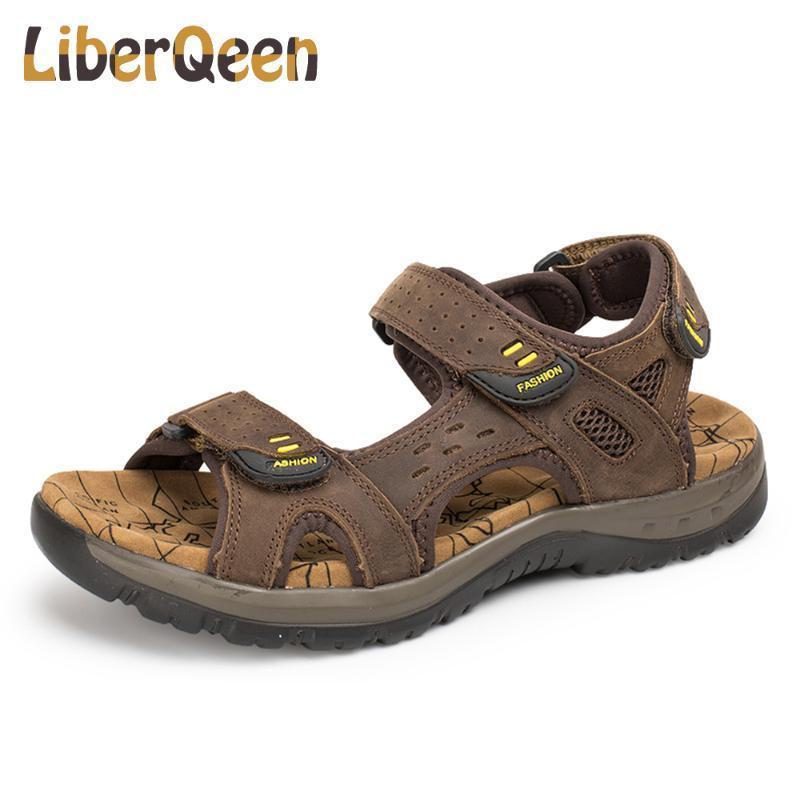 2020 Neue Männer Sandalen Sommer Freizeit Outdoor-Strand-Mann-beiläufige Schuh-45Quality echtes Leder-Sandalen Herren Sandale
