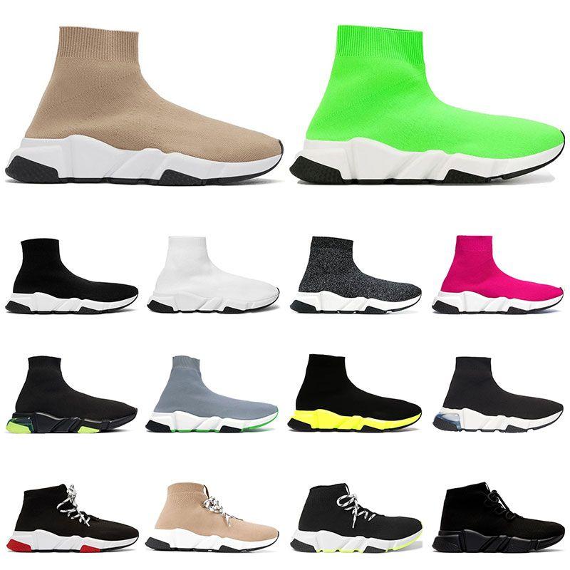 Sıcak Tasarımcı Ayakkabı Hız Eğitmen Kadın Erkek Bej Siyah Beyaz Klasik Çorap Graffiti tek Lace Up Eğitmenler Sneakers Sports Boyutu 36-45