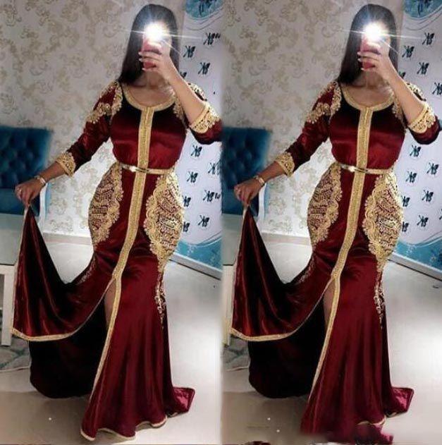 Élégant Bourgogne musulman robes de soirée Taille Plus de perles de cristal sirène robe de bal 2020 arabe formelle Abaya Dubai Robes de soirée avec Slit