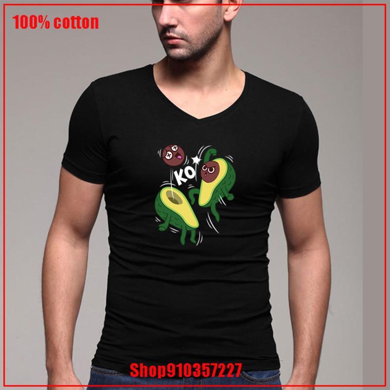 2020 V-cuello de la vendimia nuevo venir aguacate KO cómodo todo el algodón camisetas de color diversificado dos camisetas 180 gsm peinados de algodón