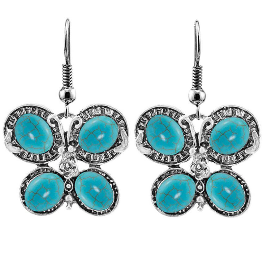 10 Paare Silber überzogene Baumeln Ohrringe Schmetterling und Libelle Form Grüner Türkis Stein Für Frauen Schmuck