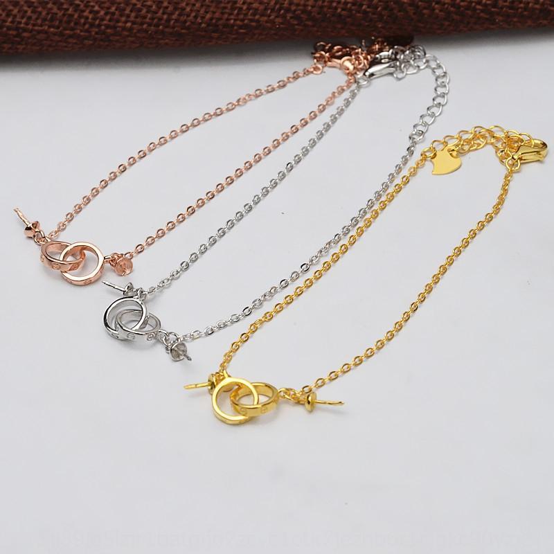 Dv82X S925 pulsera de DIY plata platino oro anillo de la mano chapado en oro de Rose plateado doble anillo doble cordón de la pulsera de la perla diy apoyo vacío 544