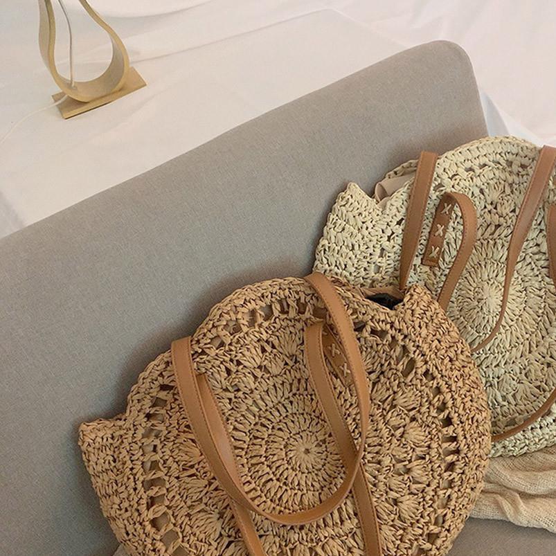 2020 Mulheres Round Handbag Verão Bohemia Saco da praia Rattan tecido artesanal malha Straw Totes Couro Mulheres Shoulder Bag T1G