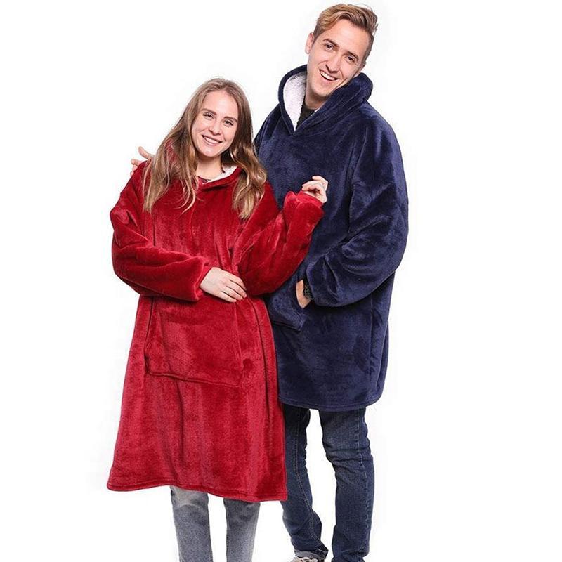 Mujeres dormir lujoso albornoz Albornoz Fleece con capucha Sherpa Robe ropa de noche Homewear manta caliente con capucha para adultos niños