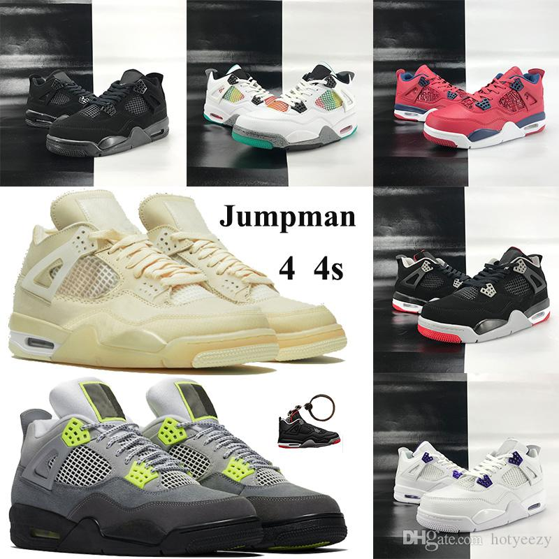 Jumpman 4 فون 4S xwhite أحذية كرة السلة xsail الأبيض المعدني الأرجواني SE النيون الرجال أحذية رياضية مع سلسلة المفاتيح القط الأسود 2020 الراستا FK فولت المدربين