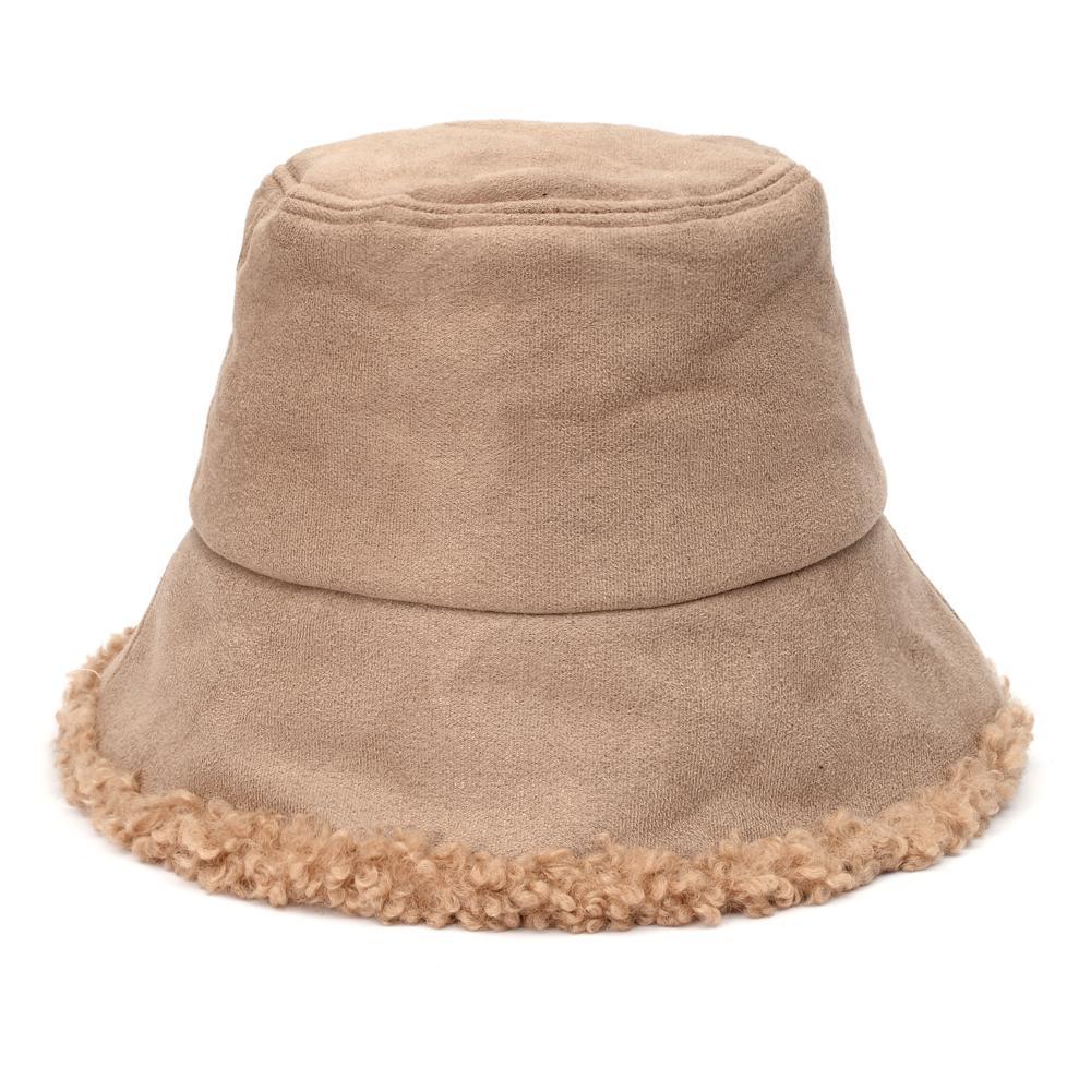 eco-pelliccia Bucket Hat per le donne degli uomini esterni ispessite caldo fissuede cappello pescatore signora panama vacanza Ragazza bob chapeau 2020