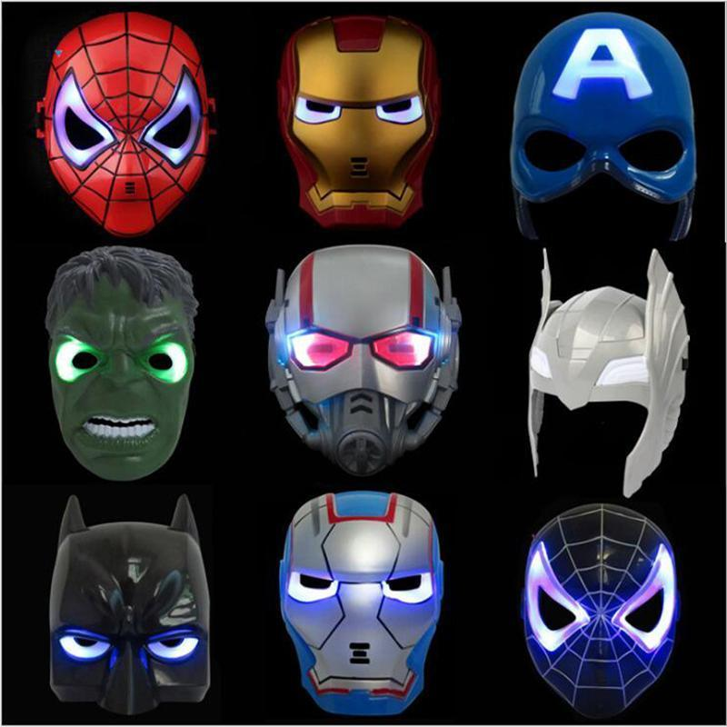 Eisen Kinder Beleuchtung Maske Led Cartoon Halloween-Held-Mann Avengers Flash-Kapitän Spiderman Amerika Super-Party-Masken Maske Glühende bdesport CUE