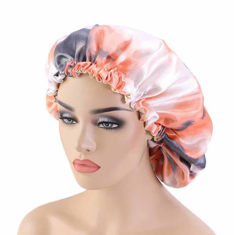 التعادل مصبوغ الحرير طاقية النوم لينة الحرير الشعر بونيه مع واسعة النطاق مريحة من النوم ليلا هات تساقط الشعر كاب