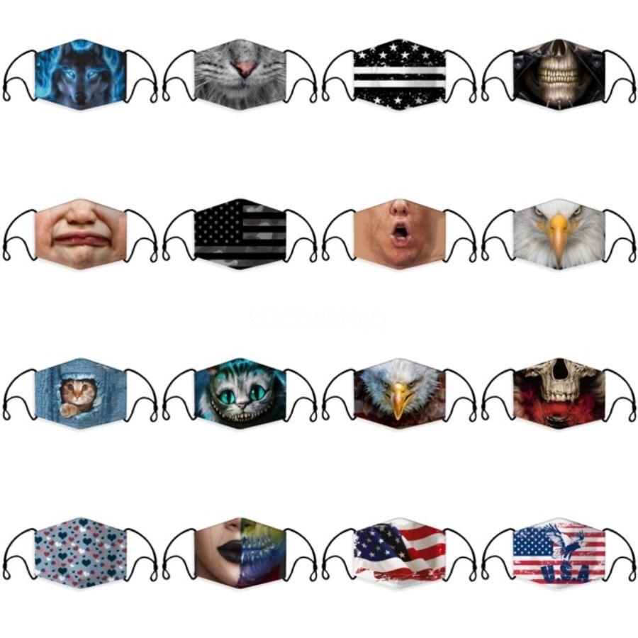 Designer-Baumwollgewebe waschbar Schutz Frau Mann-Gesicht Mund Anti-Staub-Masken mit Ventil Maske Gesicht Ering PM2.5 mit Filter # 878